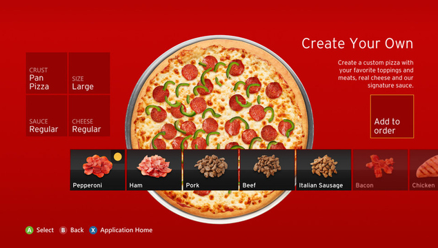 Pizza Hut app for Xbox 360