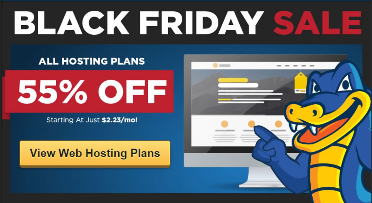 Hostgator Blackfriday sale – 55% off on all hosting plans -Hurry !