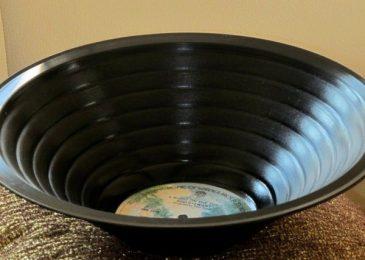 vinyl records into bowls